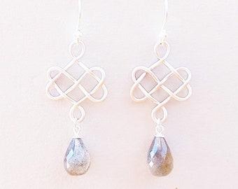 Labradorite earrings with Celtic knots silver, unique earrings