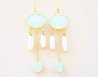 Beaded earrings gold with aqua chalcedony, unique earpiece handmade