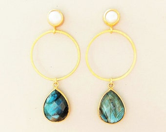 Labradorite Circle Earrings with Keshi Beads Earrings 925 Silver Gold Plated, Unique Jewelry for Women