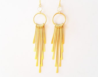 Fringe earrings gold faceted with rock crystal, gift for women