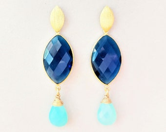 Earrings gold with blue quartz and aqua chalcedony / unique gemstone earrings 925 silver gold plated