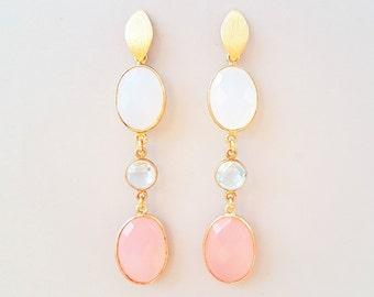 Luxury gemstone earrings blue topaz chalcedony rose quartz 925 silver plated, stud earrings gold, design unique jewelry