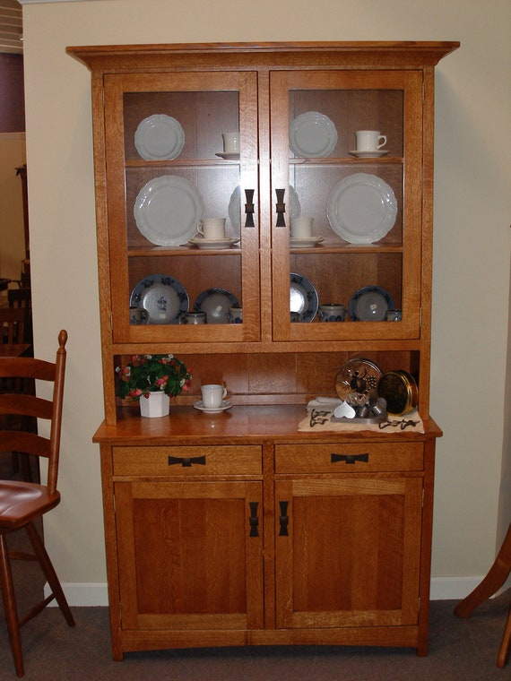 Solid Quarter Sawn Oak Craftsman Style 2 Section China Cabinet Etsy