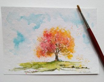 """Small watercolor painting """"Autumn Tree"""" / hand painted / small original watercolor / small gift / autumn decoration/ unique!"""