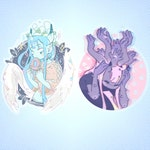 """3"""" Clear Stickers- Original Designs/Demon Girls/Greed(Left)/Mei(Right)"""