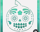 Sugar Skull Pumpkin 2 - Durable and reusable stencil for DIY painting, crafting and scrapbooking projects