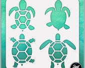 Turtles 1 - Durable and reusable stencil for DIY painting, crafting and scrapbooking projects