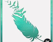 Feather Into Birds Durable and reusable stencil for DIY painting, crafting and scrapbooking projects