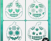 Sugar Skull Pumpkins 4 Stencil Set - Durable and reusable stencil for DIY painting, crafting and scrapbooking projects