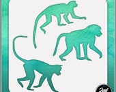 Monkeys 1 - Durable and reusable stencil for DIY painting, crafting and scrapbooking projects