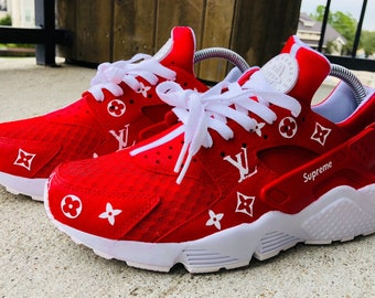 c1b7be66d21f Custom Supreme Louis Vuiton Nike Huarache