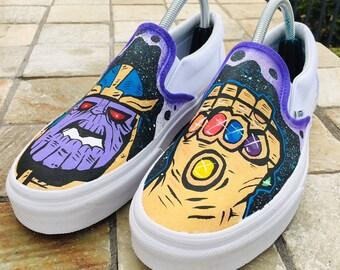 e5913950e0e852 Custom Infinity War Thanos Vans Slip-ons