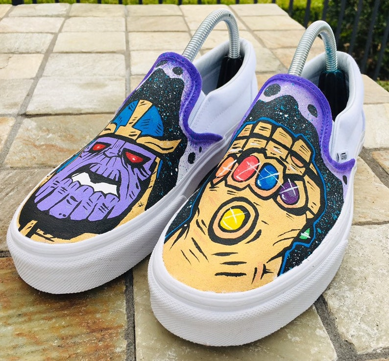 9776d27a71 Custom Infinity War Thanos Vans Slip-ons