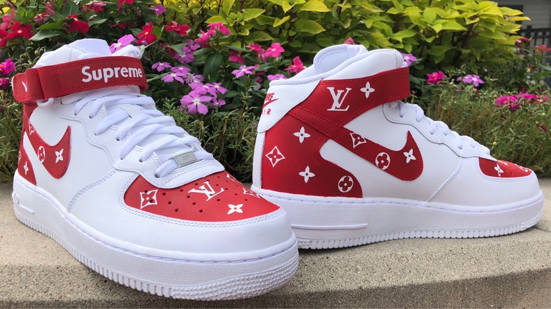 size 40 8335e 4c0f2 Custom Supreme Louis Vuitton Mid Air Force 1   Etsy