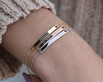 Personalized Jewelry Silver Bar Bracelet Name Bracelet Silver Bracelet Personalized Bracelet Silver Personalized Gift Friendship Gift