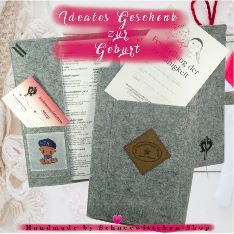 U-pocket sleeve buttons with baby feet in gray and blue Vaccination cover envelope Pregnant birth baby newborn baby gift