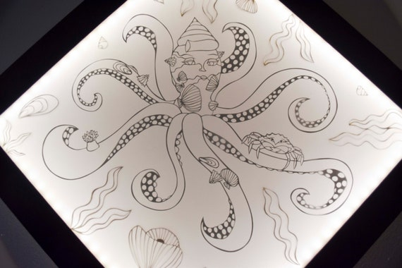 The Octopus And Its Shells Marine Background Ocean Cut Paper Bright Setting Light Box