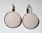 Bronze Earrings Fabric Button Grey