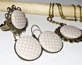 Vintage bronze Jewelryset made of fabric buttons grey