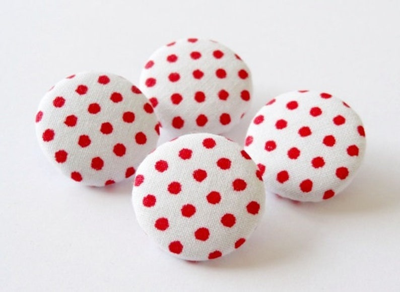 4 fabric buttons dots red dots