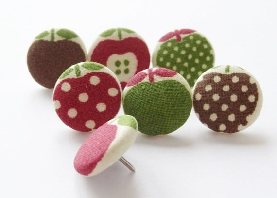 7 broches broches avec tissu boutons Apple mix
