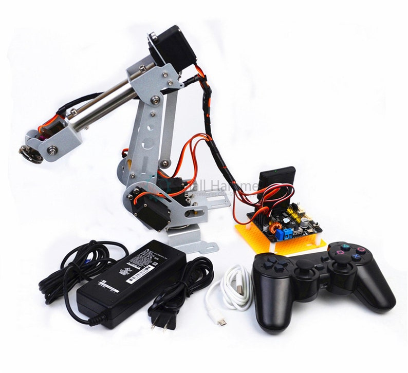 New version arduino remote control PS2 remote control stainless steel  robotic arm six degrees of freedom 6DOF robot