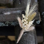 Rustic wedding buttonhole, Woodland dried boutonniere, Vintage or country wedding, Dried Flower Grooms Buttonhole