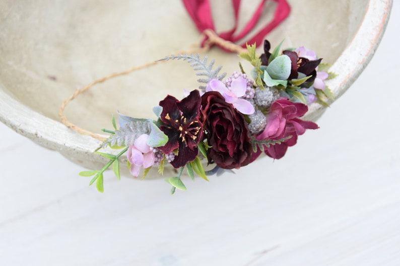 Marsala flower crown Maroon Bridal crown Wedding flower comb Flower hair wreath Burgundy bridesmaid crown Flower headpiece