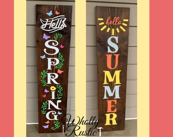 DIY hello spring porch leaner