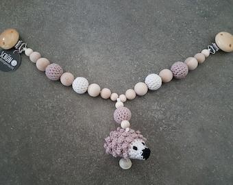 Crocheted Stroller Chain, crocheted hedgehog, crochet bead, wooden beads, crochet ball, 40 cm, bells, beautiful and homemade, Schoenselbstgemac