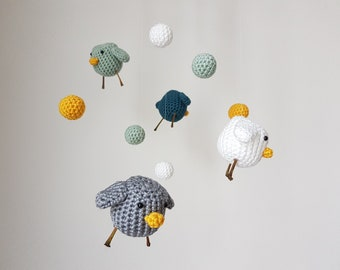 Baby Mobile PiepMatz crocheted, diameter 23 cm, beautiful and homemade