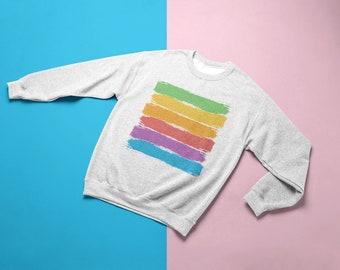 2958bb1c Gay Pride Rainbow Sweatshirt / Pride Flag Brush Strokes Crewneck / LGBTQ+ Pride  Shirt / Equality / Equal Rights Swetshirt / Men's + Women's
