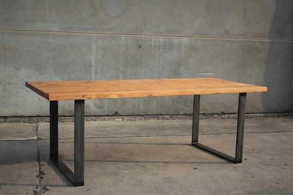 Escritorio mesa de comedor Vintage upcycling madera vieja aros de acero no  conformes industrial madera maciza de mediados del siglo danés