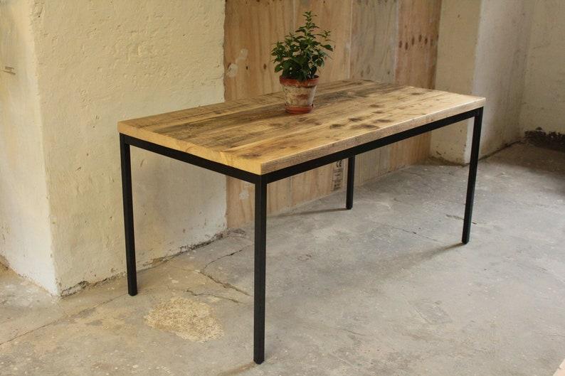 Table à manger bureau de bois table upcycling vintage acier etsy
