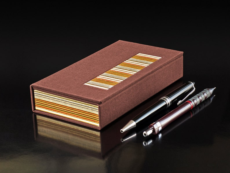 Pen Case 'Stripes'  Chestnut and Vanilla  image 0