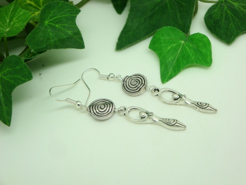 Urmutter Celtic goddess earrings with spiral disc great mother moon goddess  Celts Wicca Pagan