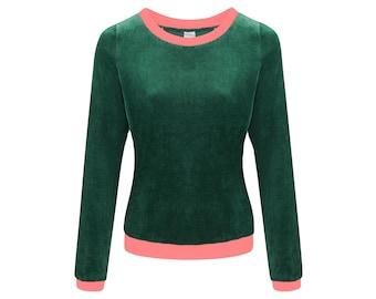 Organic jumper Onne velour velvet smaragd / pink