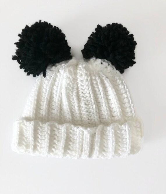 Double pom pom baby hat crochet baby hat infant pom pom hat  e2dbc7309e0