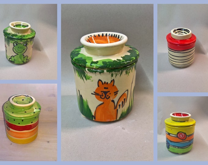 """French butter can water butter can """"sombra"""" for 125g butter colorful pottery"""