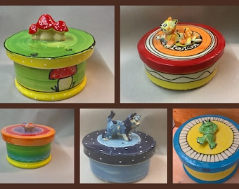 Biscuit tin pastry tin Delicious can ceramic with cat mushrooms flower or frog