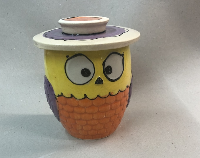 French water butter tin for 250 g butter owl colorful