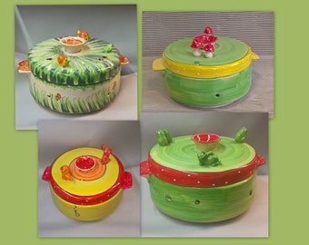 Bread pot bread box bread box made of ceramic with various figures frog mouse mushrooms snail