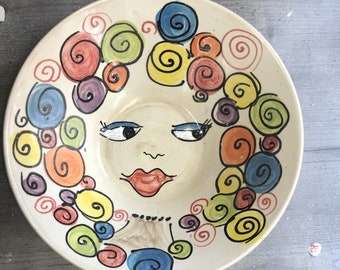 Bowl salad bowl fruit bowl bowl ceramic in the design Crissi with curly