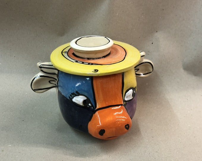 French water butter tin for 250g cow colorful