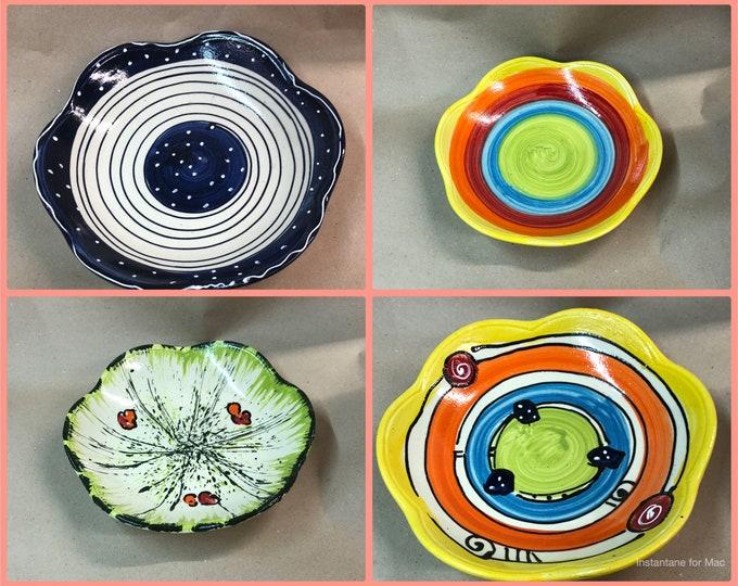 "small flat bowl salad bowl fruit bowl bowl ""wave"" pottery"