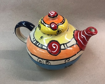 Teapot pot handmade ceramic 1.5 liters in crazy