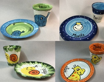 Harness set for kids ceramic 2 piece plates and mug with name ceramic hand painted gift