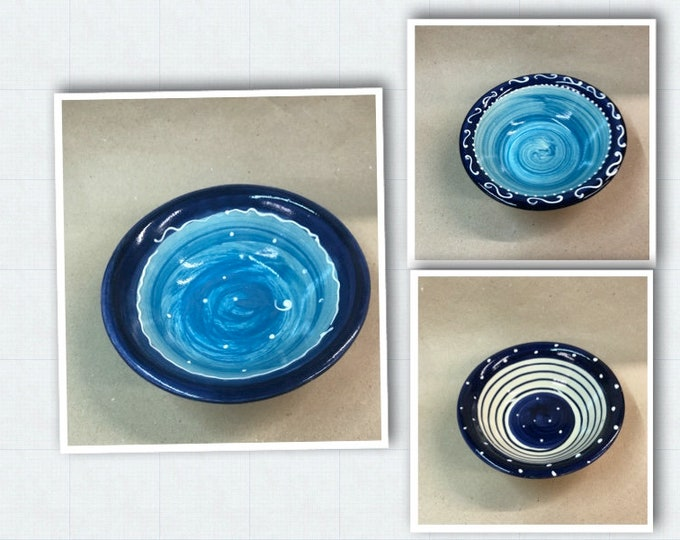 Muesli bowl bowl dessert bowl with small edge ceramic in blue