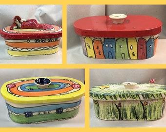 "large rustic oval bread pot bread box bread tin ""chleb"" ceramic in various patterns"