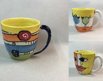 Jumbo cup XL large cup cereal cup approx. 800ml ceramic in different patterns